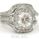 ROUND & BAGUETTE DIAMOND ENGAGEMENT RING & BANDS 3.05CT