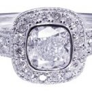 14k White Gold Cushion Cut Diamond Engagement Ring Bezel Set Deco Pave 1.20ctw
