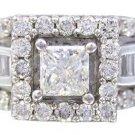14K WHITE GOLD PRINCESS CUT DIAMOND ENGAGEMENT RING ART DECO STYLE 1.65CTW
