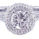 GIA H-SI1 18K WHITE GOLD ROUND CUT DIAMOND ENGAGEMENT RING ETERNITY HALO 1.45CT