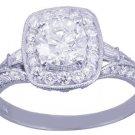 14k White Gold Round Cut Diamond Engagement Ring Deco Prong 1.75ctw H-VS2 EGL US