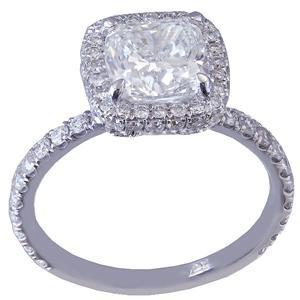 14K WHITE GOLD CUSHION CUT DIAMOND ENGAGEMENT RING DECO HALO 2.05CT G-VS2 EGL US