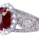 14K WHITE GOLD OVAL RUBY AND DIAMONDS ENGAGEMENT RING ART DECO STYLE HALO 4.50CT