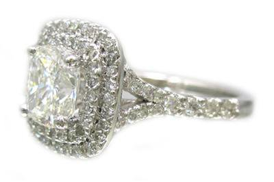 14K WHITE GOLD CUSHION CUT DIAMOND ENGAGEMENT RING ART DECO STYLE 1.59CTW