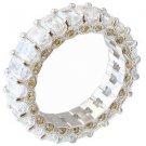18K WHITE GOLD EMERALD CUT FANCY YELLOW ROUND CUT ETERNITY DIAMONDS BAND 6.00CTW