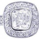14K WHITE GOLD CUSHION CUT DIAMOND ENGAGEMENT RING BEZEL DECO 1.45CTW