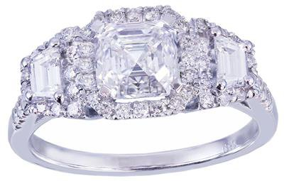 18k white gold asscher cut diamond engagement ring Halo 2.50ctw H-VS2 EGL USA