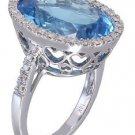 14k White Gold Oval Cut Blue Topaz And Diamonds Engagement Ring 14.28ctw