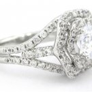 ROUND CUT DIAMOND ENGAGEMENT RING FRENCH PAVE SET 1.35CTW