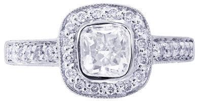 14K WHITE GOLD CUSHION CUT DIAMOND ENGAGEMENT RING BEZEL 1.45CTW H-VS2 EGL USA