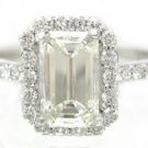 EMERALD CUT DIAMOND ENGAGEMENT RING 14K WHITE GOLD PRONG SET ART DECO 1.60CTW