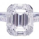 GIA H-VS2 14k White Gold Emerald Cut Diamond Engagement Ring Deco Halo 1.60ctw