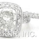 CUSHION CUT DIAMOND ENGAGEMENT RING & BAND BEZEL 2.96CT