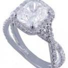GIA H-VS2 18K White Gold Cushion Cut Diamond Engagement Ring Art Deco 2.80ctw