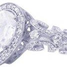 14K WHITE GOLD PEAR SHAPE DIAMOND ENGAGEMENT RING ART DECO 1.75CTW H-VS2 EGL USA