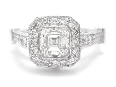 ASSCHER CUT DIAMOND BEZEL ENGAGEMENT RING 2.28CTW 18K