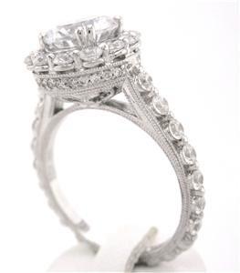 ROUND CUT DIAMOND ENGAGEMENT RING ART DECO ANTIQUE STYLE 2.50CTW