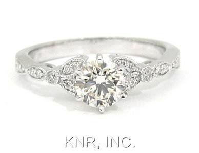 18K WHITE GOLD ANTIQUE STYLE ROUND CUT DIAMOND ENGAGEMENT RING 1.10CTW