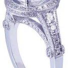 GIA H-VS2 14K White Gold Round Cut Diamond Engagement Ring Art Deco 3.15ctw