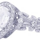 14K WHITE GOLD PEAR SHAPE DIAMOND ENGAGEMENT RING ART DECO HALLO STYLE 1.75CTW