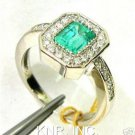 1.81CT EMERALD CUT EMERALD & DIAMONDS ENGAGEMENT RING