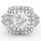 ROUND CUT DIAMOND ENGAGEMENT RING 1.80CT ART DECO
