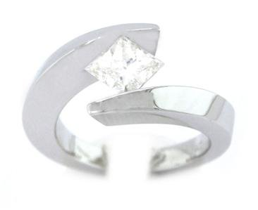 PRINCESS CUT DIAMOND ENGAGEMENT RING TENSION SET SOLITAIRE 14K WHITE GOLD 1.20CT