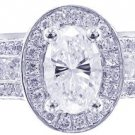 14k White Gold Oval Cut Diamond Engagement Ring Deco Antique Style Halo 3.00ct
