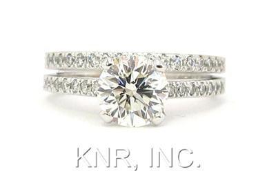 14K WHITE GOLD ROUND DIAMOND ENGAGEMENT RING & BAND ELEGANT 1.33CTW