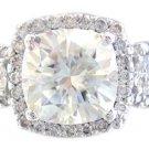 18K WHITE GOLD CUSHION CUT DIAMOND ENGAGEMENT RING ART DECO STYLE 2.77CTW