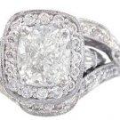 18K CUSHION CUT DIAMOND ENGAGEMENT RING AND BANDS ART DECO 2.70CTW H-VS2 EGL USA