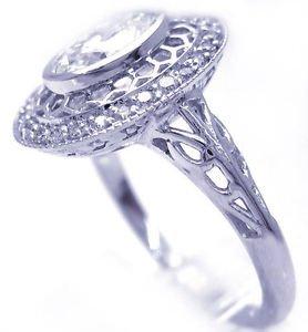 14K WHITE GOLD OVAL CUT  DIAMOND ENGAGEMENT RING ART DECO 1.48CTW
