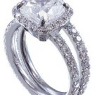 14k White Gold Cushion Cut Diamond Engagement Ring And Band Halo Prong 3.10ctw