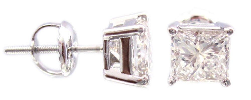 14K WHITE GOLD 2.00CTW PRINCESS CUT DIAMONDS STUD EARRINGS SET