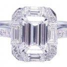 GIA G-VS2 14k White Gold Emerald Cut Diamond Engagement Ring Deco Halo 1.60ctw