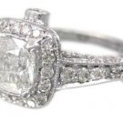 18K WHITE GOLD CUSHION CUT DIAMOND ENGAGEMENT RING ART DECO ANTIQUE STYLE 1.91CT