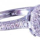 18k White Gold Round Cut Diamond Engagement Ring Art Deco Style Halo pave 1.35ct