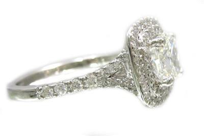 18K WHITE GOLD CUSHION CUT DIAMOND ENGAGEMENT RING SOLESTE STYLE 1.61CTW