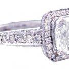 18K WHITE GOLD CUSHION CUT DIAMOND AND SAPPHIRE ENGAGEMENT RING 2.25CT G-SI1 EGL