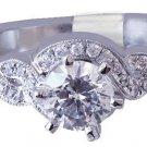 18k White Gold Round Cut Diamond Engagement Ring Prong Set Art Deco Split 0.85ct