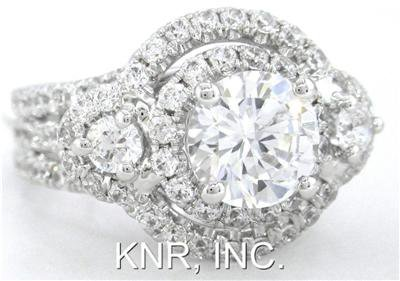 14K WHITE GOLD ROUND CUT DIAMOND ENGAGEMENT RING 2.25CT ART DECO