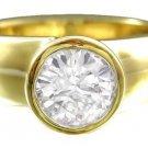14K YELLOW GOLD ROUND CUT DIAMOND ENGAGEMENT RING BEZEL SET 1.00CT
