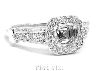 ASSCHER & ROUND DIAMOND BEZEL ENGAGEMENT RING 1.81CTW