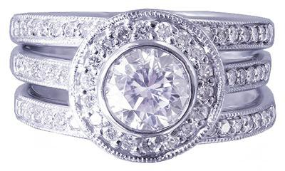 14k White Gold Round Cut Diamond Engagement Ring And Bands Bezel Set Deco 1.60ct