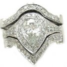 14K WHITE GOLD PEAR CUT DIAMOND ENGAGEMENT RING AND 2 BANDS BEZEL SET 2.75CTW