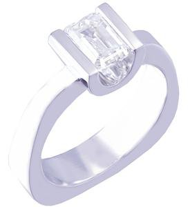 14K WHITE GOLD EMERALD CUT DIAMOND ENGAGEMENT RING SEMI TENSION SET 0.75CT