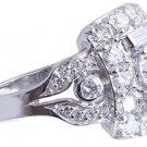 14K WHITE GOLD ROUND CUT DIAMOND ENGAGEMENT RING ART DECO ANTIQUE STYLE 2.40CTW
