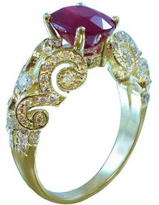 14K YELLOW GOLD OVAL RUBY AND ROUND CUT DIAMONDS ENGAGEMENT RING 2.56CTW