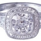 18k White Gold Cushion Cut Diamond Engagement Ring Bezel Set Antique Deco 1.90ct