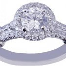 18K WHITE GOLD ROUND CUT DIAMOND ENGAGEMENT RING SPLIT BAND 1.41CTW H-VS2 EGL US